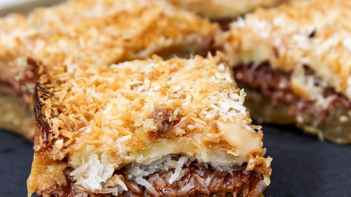 Toasted gooey caramel coconut banana bars